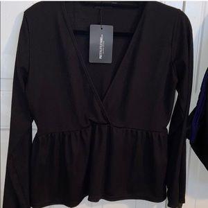 💘 NWT PLT Black deep v peplum blouse size 16